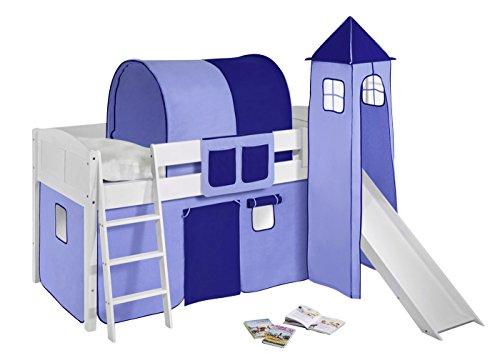 Lilokids Spielbett IDA 4106 Blau-Teilbares Systemhochbett weiß-mit Turm, Rutsche und Vorhang Kinderbett Holz 208 x 220 x 185 cm