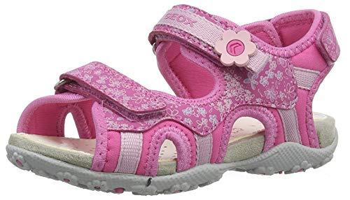 Geox Mädchen JR Roxanne C Peeptoe Sandalen Pink (Fuchsia C8002), 28 EU Fuchsia Patent Schuhe