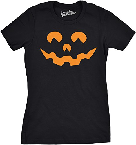 Crazy Dog Tshirts - Womens Cartoon Eyes Pumpkin Face Funny Fall Halloween Spooky T Shirt (Black) XXL - Damen - XXL