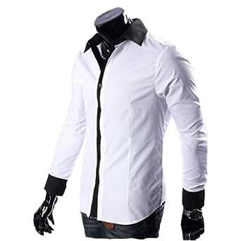 "Zehui Mens Long-sleeved Slim Fit Shirt Casual Button-Front shirt White L(Shoulder:17.7"" Chest:40.9"" Length:29.5"" Sleeve:25.5"")"