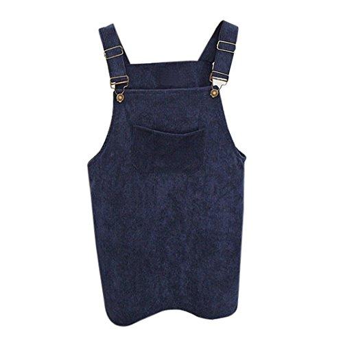 Kanpola Kleider Damen Herbst Cord Straps kurze Tasche gerade Weste Rock Kleid (Satin Plissee Kleid)