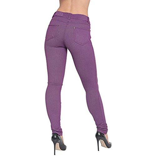 Damen Plus Size Stretch Farbige Denim Blue Leggings Hosen Jeggings Lila