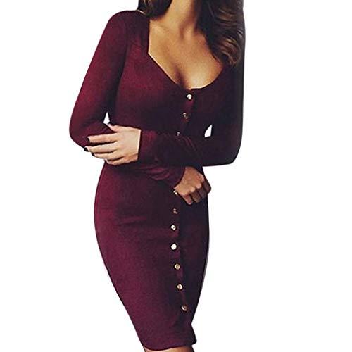 Felicove Frau Sexy Cocktailkleid, Lange Ärmel Tunika Kleid Beiläufig Maxi Kleid Party Kleid Nachtclub Kleid Schlankes Kleid Elegant Empirekleid Warme Abendkleider (L, Wein)