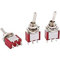 SODIAL(R) Interruptor de Palanca Momentaneo SPDT 2 Vias - Montura de 6mm - 3 Piezas - AC250V 3A 120V 5A