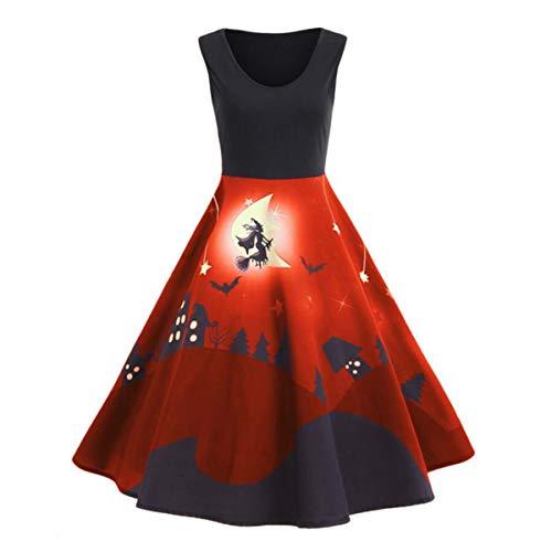 Kostüm Hexen Plus Größe - Ladieshow Frauen-Elegantes Halloween-Kleid-Sleeveless Rundhals-Druck-Hexe-Abend-Partei-Kleid Halloween-Kostüm Plus Größe