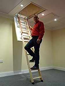 Deluxe (Larch) Wooden Loft Ladder with Twin Handrails - Frame 1100 x 545mm - Floor to ceiling heights up to 2.8m - Loft Ladders