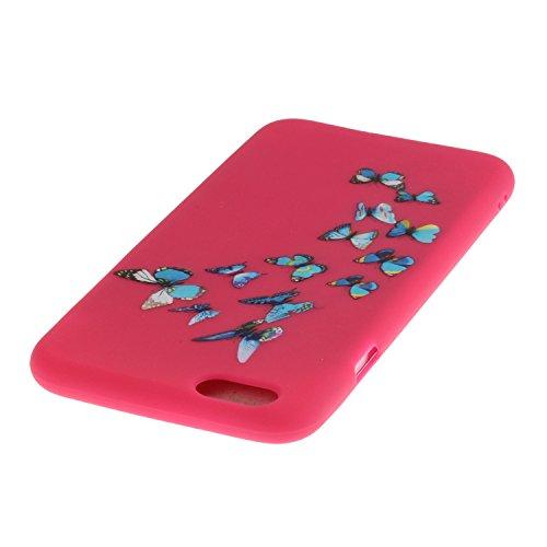 iPhone SE Coque,iPhone 5S Case,iPhone 5 Cover - Felfy Cas Ultra léger Mince Slim Gel Souple Soft Flexible TPU Silicone Fashion Couleurs de Bonbons Etui Couverture de Protection Bumper Anti Rayures Ant Rouge Papillon