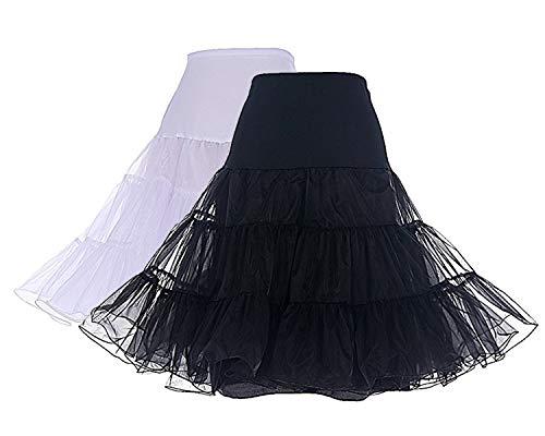 Dresstells 1950 Petticoat Reifrock Unterrock Petticoat Underskirt Crinoline für Rockabilly Kleid 2-Pakete(Black+White) XL - Mit Abendkleider Kristallen