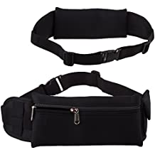 Lilware Waist Bag Sicurezza Marsupio. Flessibile e Cintura Regolabile con Spazioso Tasca per La Corsa, Ciclismo, Passeggio, Geocaching e Altre Attività. Nero