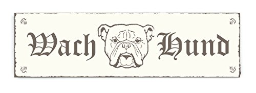 SCHILD Dekoschild « WACH HUND - PITBULL » Shabby Vintage Holzschild Türschild Dekoration Warnschild Hinweisschild Pit Bull Hooligang Kampfhund (Vintage Bull)