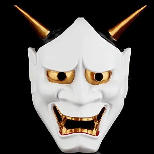 Lionina Halloween Masken Gruselige Japanische Buddhismus Maske Kostüm Horrible Maske Thrill Deko Cosplay Japanische Prajna Ryel Maske für Halloween, Karneval, Maskenparty, weiß, Free - Japanische Halloween Kostüm