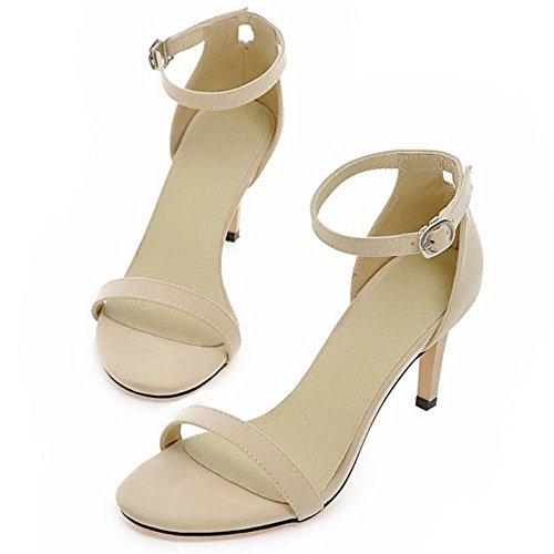 COOLCEPT Femmes Mode Strappy Chaussures Orteil ouvert Sangle de cheville Talon Aiguille Sandales Beige