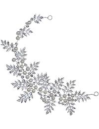 Las vendas Rhinestone YAZILIND diseño único Hojas de plata plateado imitación de la perla para las mujeres de las muchachas regalo