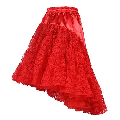 Kostüm Für Girl Muster Saloon - Damen Petticoat Unterrock lang Rot 60cm | Vintage Spitzen-Rock mit Rüschen für Karnevals- & Faschings-Kostüm | Größe 34 - 44