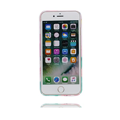 Custodia iPhone 6 Plus, iPhone 6s Plus copertura case in silicone TPU leggero sottile adatto Cover per iPhone 6S Plus / 6 Plus 5.5 Inch- gatto Cat bianca foglie di palma Fenicottero