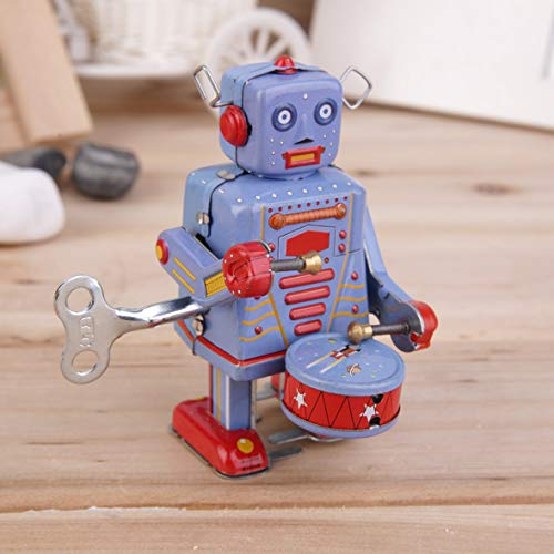 Heaviesk Zinnspielzeug Vintage Metall Zinn Trommeln Roboter Clockwork Wind Up Zinnspielzeug Sammlerstück - Spielzeug Wind-up Zinn