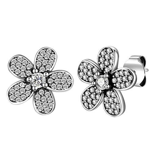 Qhorse orecchini da donna a forma di fiore, da ragazza, dolci, ipoallergenici, per alberi, compleanno, regalo con zirconi e argento, colore: argento, cod. qlx-lkn-128
