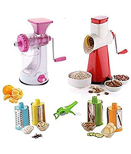 RADHA KRISHNA ENTERPRISE Heavy Manual Fruit And Vegetable Juicer +New 4 In 1 Drum Grater Shredder Slicer Plastic, Steel Hand Juicer Multicolor Kitchen Tool Set Combo