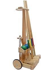 BE-X - Juego de cróquet con carrito (4 mazos), color marrón