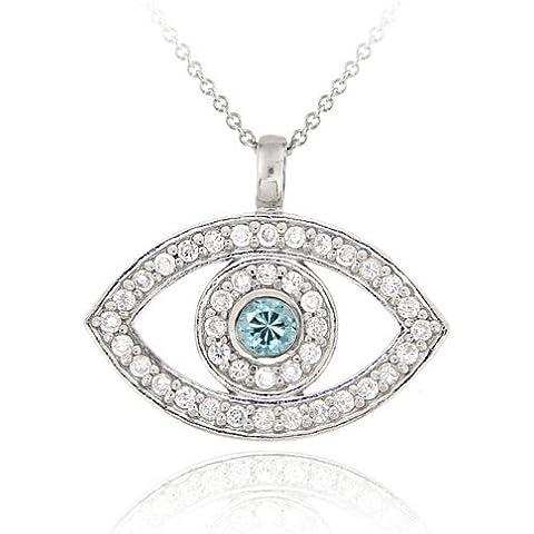& acquamarina, argento Sterling, con zirconia cubica trasparente e pendente occhio greco