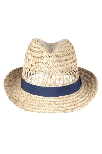 Mountain Warehouse Trilby Straw Sun Hat - 100% Natural Straw Summer Hat, One Size, Unisex Sun Hat, Sweat Band, Outer Ribbon Detail Cap - For Spring Camping & Fishing