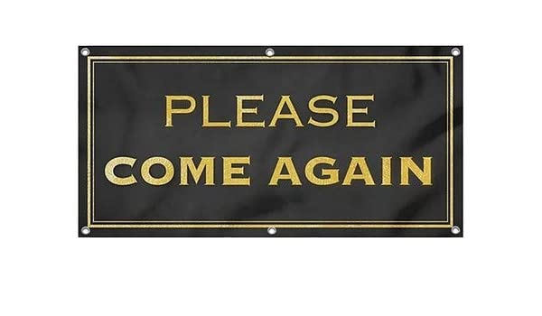 CGSignLab Please Come Again 12x4 Stripes White Heavy-Duty Outdoor Vinyl Banner