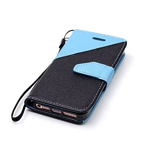 iPhone SE Ledertasche,iPhone 5 5S Lanyard Brieftasche,JAWSEU Retro Kreative Matte fühlen Doppelte Farbe Muster Strap PU Leder+TPU Innere Handyhülle Flip Bookstyle Premium Schutzhülle Wallet Case Etui  Schwarz+Hellblau