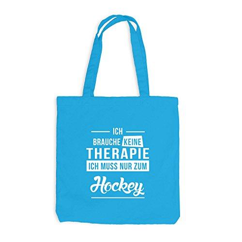 Jutebeutel - Ich Brauche Keine Therapie Hockey Surfblau