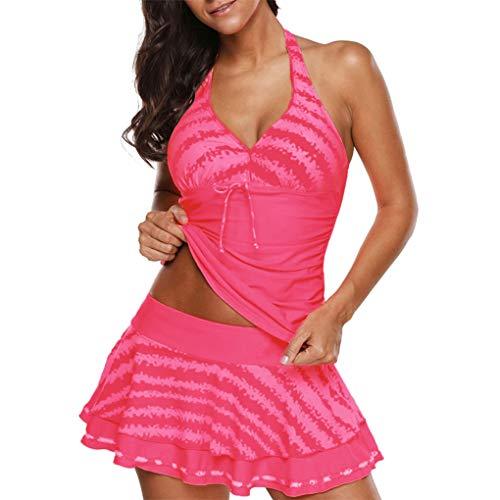 Badebekleidungs-Rock zweiteilig hoher reizvoller Bikini-Zapfen dr¨¹cken aufgef¨¹llte Tankini-Frauen-Halter-V-Ansatz r¨¹ckenfrei hoch Hot Pink S - Geraffte Halter Maillot