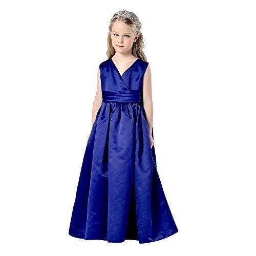 Ragazze Blu Navy raso damigella d' onore fiore principessa Comunione Lungo Abito Senza Maniche Navy blue 11-12 Anni