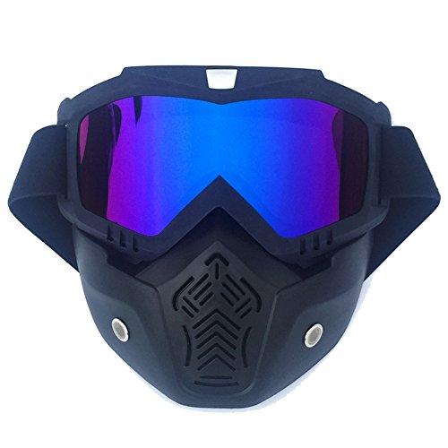 Helm Brille Full Face Motorrad Helm ATV Dirt Bike Offroad Reitbrille Brille mit abnehmbarer Maske Anti-Scratch Staubdicht biegsamen UV400 Verstellbarer Gurt für Erwachsene Motocross Radfahren Schutz