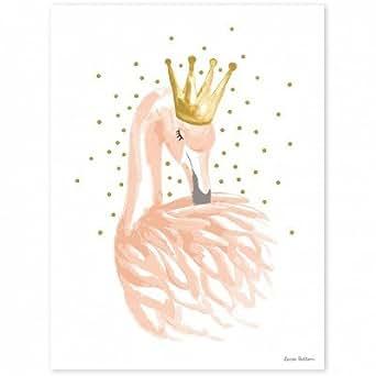 Lilipinso-Poster flamant rose et étoiles Flamingo by Lucie Bellion (30 x 40 cm) - Rose clair