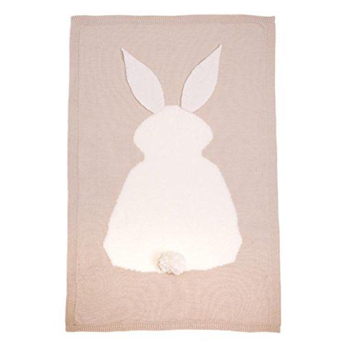 Longra Kinder Kaninchen stricken Decke Bettwäsche Quilt spielen Decke Tier Kinder werfen Decke Krippe Wrap Decke( 0-6 Jahren) (Beige) Owl Decke Werfen