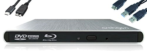 Archgon Externer Blu-ray Brenner Player USB 3.0 USB-C BDXL M-Disk DVD Style, Tray Load disc Drive Panasonic UJ-272, Aluminium Silber - kompatibel mit PC und Mac MacBook Pro, Air, iMac