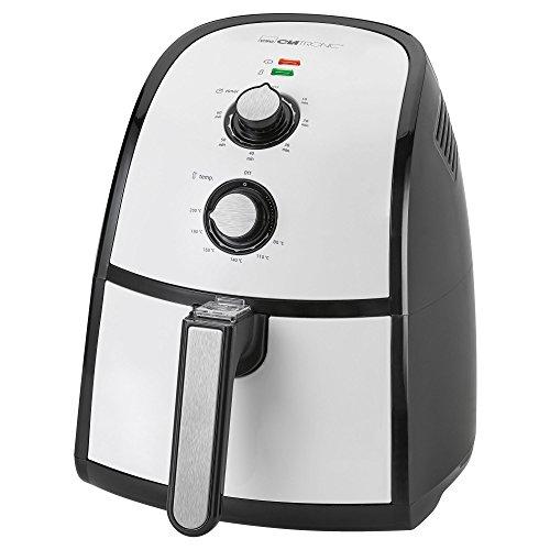Clatronic FR 3667 H Heißluft-Fritteuse 2,2 L Fassungsvermögen, stufenlos regelbarer Thermostat, Timer, 1500 W, schwarz/weiß