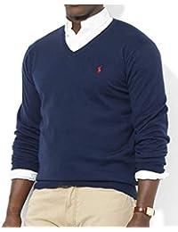 2dfe3ee3e17f Ralph Lauren Jumper V Neck Blue Navy 100% Wool (L)