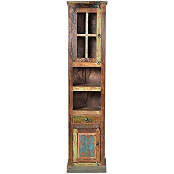 SIT Möbel 9105 98 Badezimmer Hochschrank, 2 Türen, 1 Schublade, 2 Offene  Fächer, 44 X 34 X 189 Cm