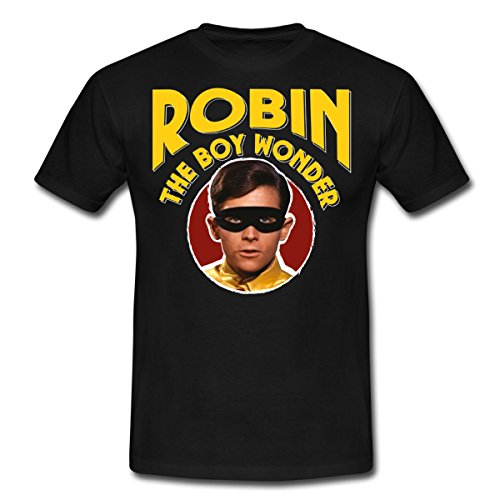 s Batman Robin Retro Boy Wonder Männer T-Shirt, XL, Schwarz (Super Helden Robin)