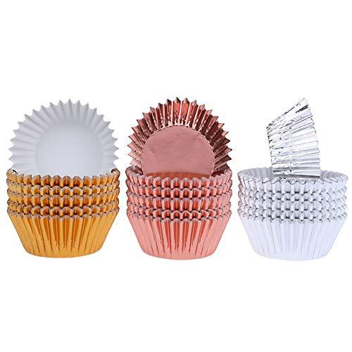 zhongjiany 300 Stück Kuchenunterlage, Metallfolie, Cupcake-Muffin Case, für Tassen, Gold, Silber und Roségold, Cupcake-Liner, 3 Farben