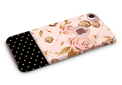 Cover Affair Floral Polka Dots Printed Designer Hard PC Slim Light Weight Back Cover Case Compatible with Apple iPhone 7 (Pink & Gold & Black) (G4-D199)