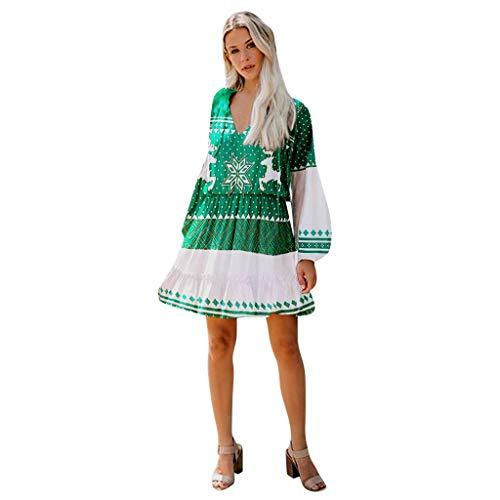BIKETAFUWY Kleider Damen Christmas Karneval Kostüm Festlich Mini Cocktailkleid Abendkleid Verein Ballkleid Weihnachtsmann Gedruckt V-Ausschnitt Lang Ärmel Knielang Partykleid