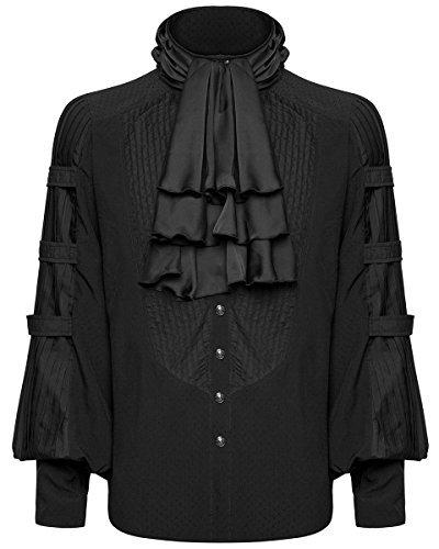 Punk Rave Mens-Gotik Hemd schwarz Steampunk Regentschaft Aristocrat + Krawatte - Schwarz, Medium