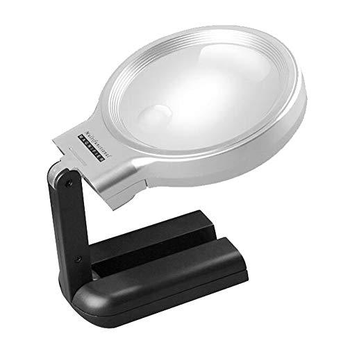 Lupe Mit 10 LED-Leuchten Stand Desktop & Handheld Zum Lesen, PrüFen, Reparieren, Handarbeiten, Hobby Und Handwerk ()