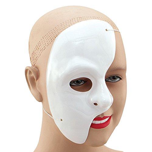 9Phantom der Oper halbes Gesicht Maske, weiß, Einheitsgröße (Zum Thema Weihnachten Fancy Dress Ideen)