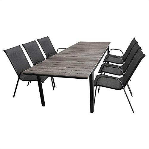 7tlg. Gartengarnitur Sitzgruppe Sitzgarnitur Ausziehtisch, Aluminiumrahmen, Polywood Tischplatte grau, 160/210/260x95cm + 6x Stapelstuhl, Textilenbespannung / Gartenmöbel Terrassenmöbel Set