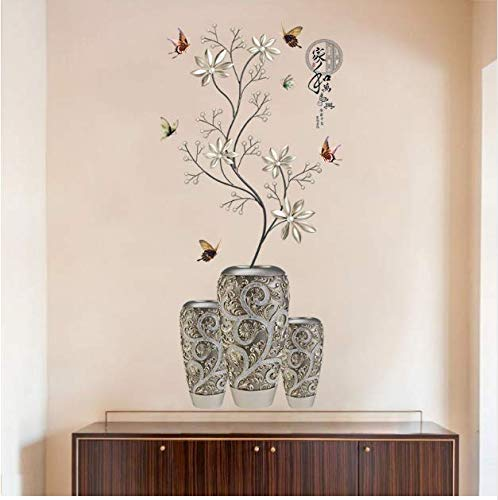 Silver Vase Flower Wall Stickers Art Butterfly Tree Home Decor Vinyl Diy Wall Decals Potted Plant Rooms Decoration 58 * 118Cm (Silver Flower Vase)