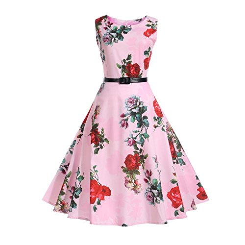 KaloryWee Dresses Women Vintage 50s Floral Printing Sleeveless Casual Evening Prom Swing Dress