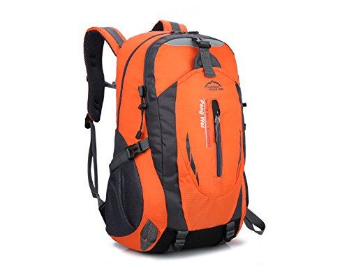 LQABW Schulter-Bergsteigen Berufssport 55L Outdoor-Freizeit Reisen Wandern Wasserdichte Tasche Rucksack Orange