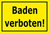 Melis Folienwerkstatt Schild - Baden Verboten - 30x20cm | Bohrlöcher | 3mm Aluverbundplatte – S00083-C - 20 Varianten