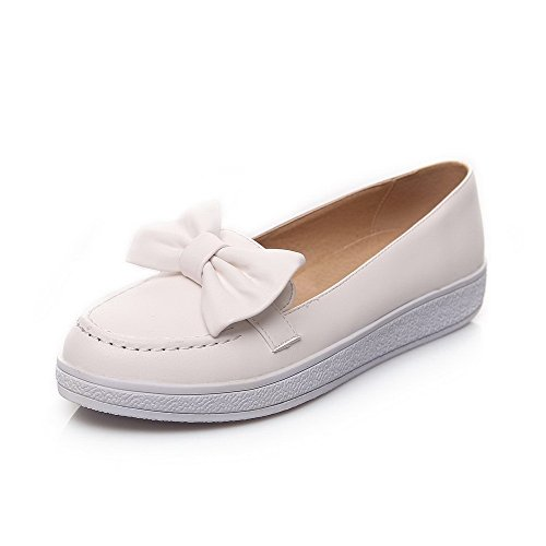 AgooLar Damen Rein Niedriger Absatz Rund Zehe Ziehen auf Stiefel, Weiß, 41